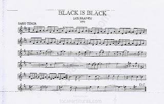 Partitura de Saxofón Tenor (y saxo soprano) en Si bemol de Black is Black Sheet Music for Tenor Saxophone (and soprano sax)