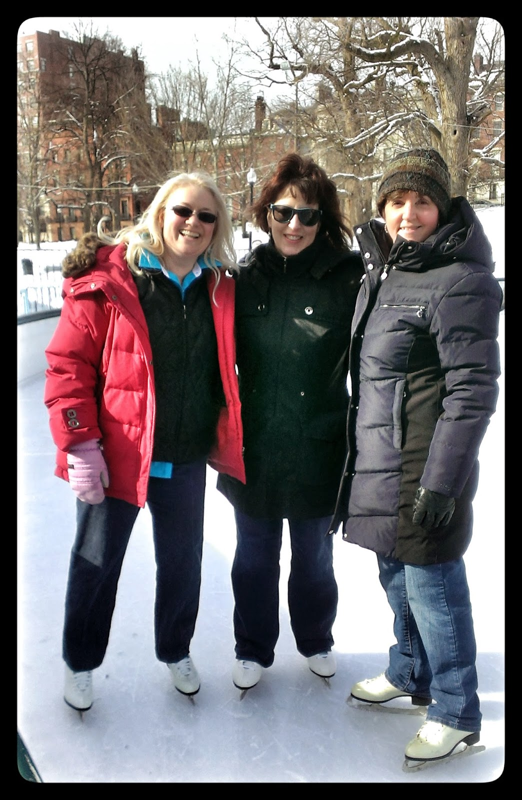 girlfriends ice skating in Boston
