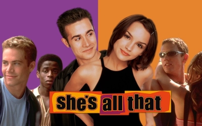 Freddie Prinze Jr. makes over Rachel Leigh Cook in 1999's popular Pygmalion-like teen rom-com, SHE'S ALL THAT