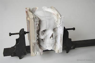 Livro, Book, Crâneo, Caveira, Escultura em Livro