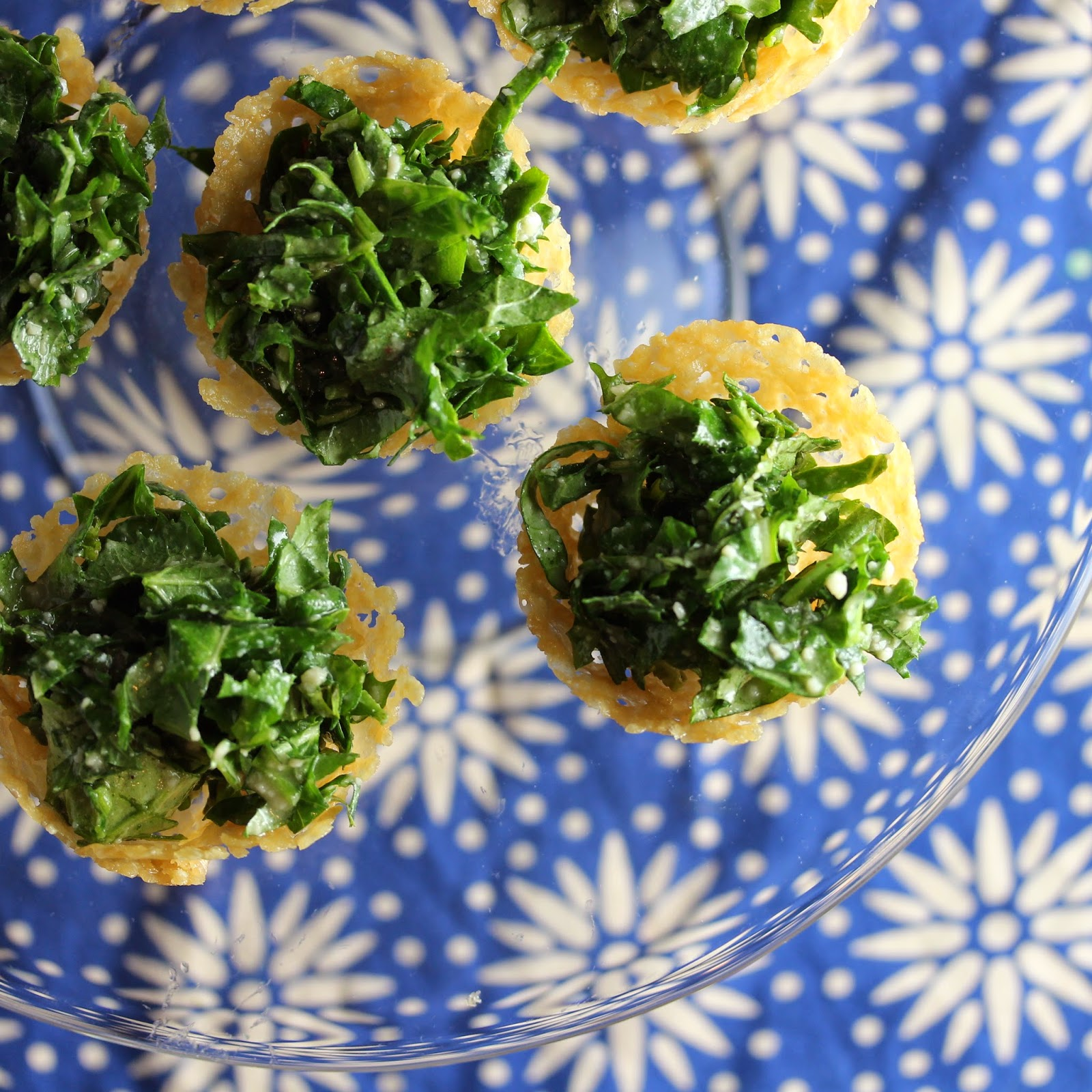 Parmesan Frico Cups with Caesar Kale Salad