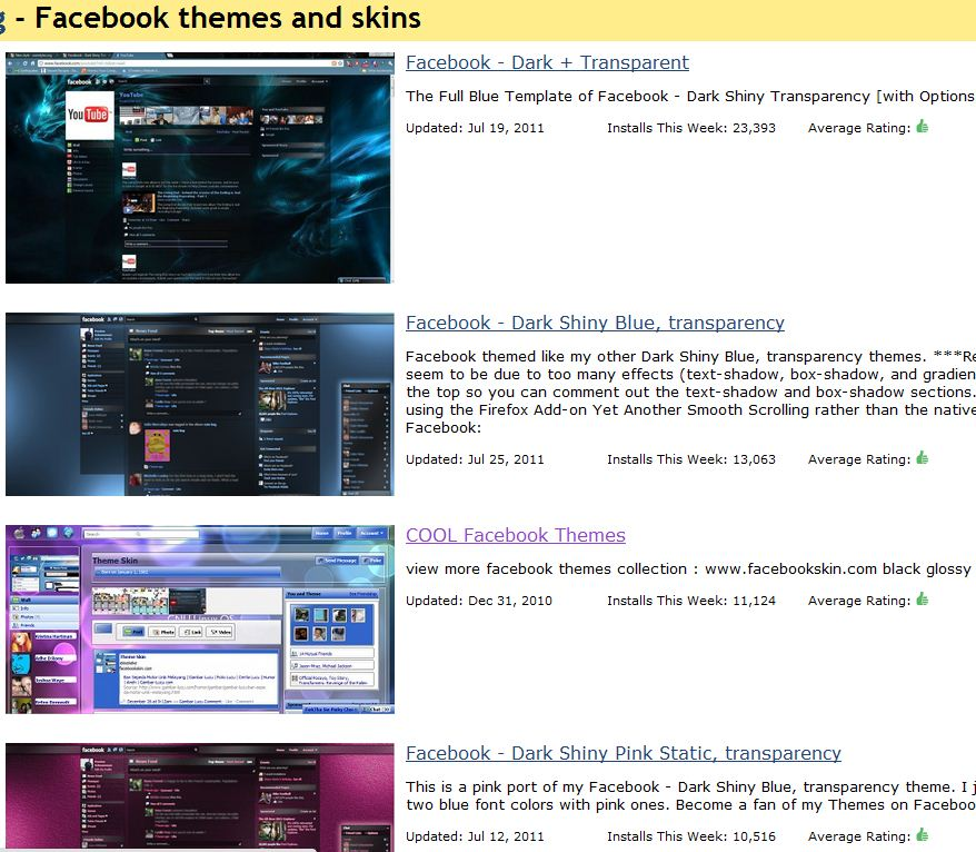 Facebook Themes List screenshot