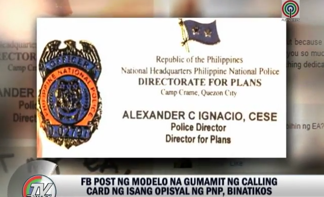 Chief Supt. Alexander Ignacio Admitted Consulting Legal Actions Against Model Alyzza Agustin