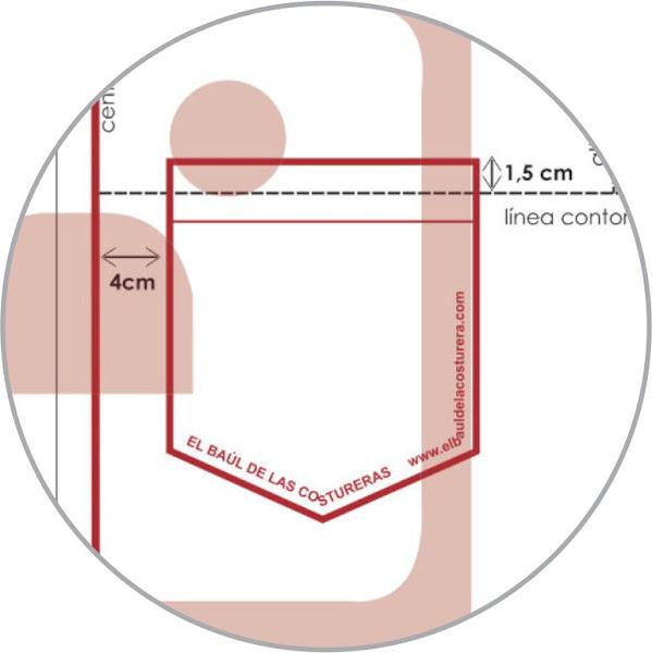 Coser el bolsillo de camisa a 1,5 cm sobre la línea de contorno de pecho