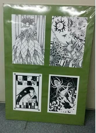 インクで描いた組絵、個展出品作品