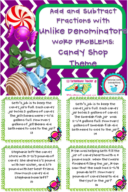 http://www.teacherspayteachers.com/Product/Add-Sub-Fractions-w-Unlike-Denominators-Word-Problems-Candy-Shop-5NFA1-5NFA2-464987