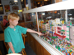 Casey noting the exact LEGO replica of Miami's South Beach.  Hurricane Grill, Marathon, FL