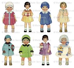 Tela muñecas años 50