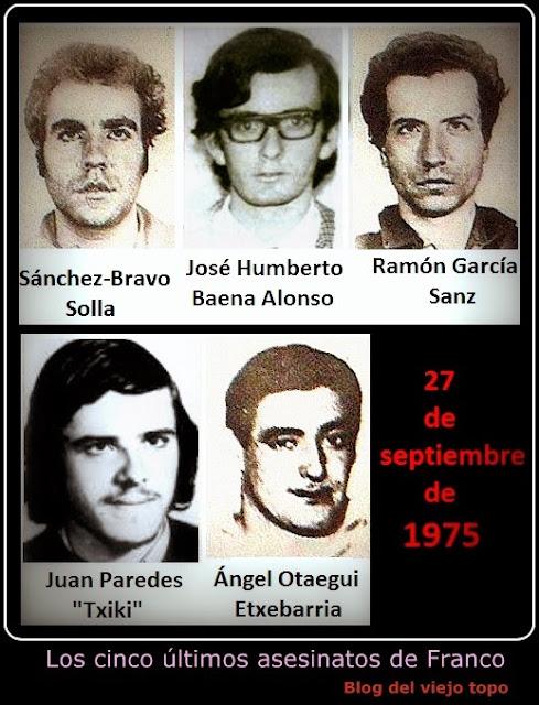 27 de septiembre, 40 años de los últimos fusilamientos de la dictadura franquista