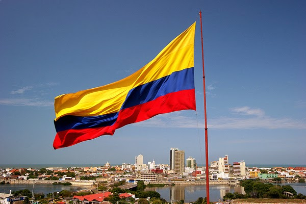 COLOMBIA'S FLAG over BARRANQUILLA