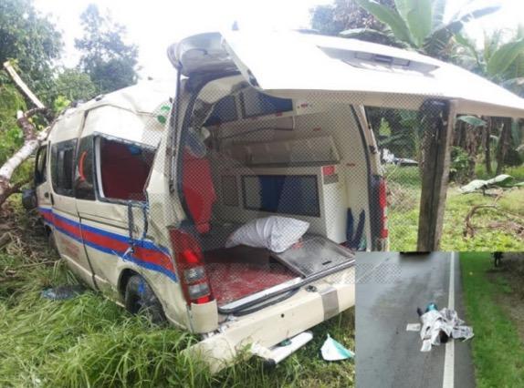 Ambulans terlanggar seorang penunggang motosikal sehingga maut