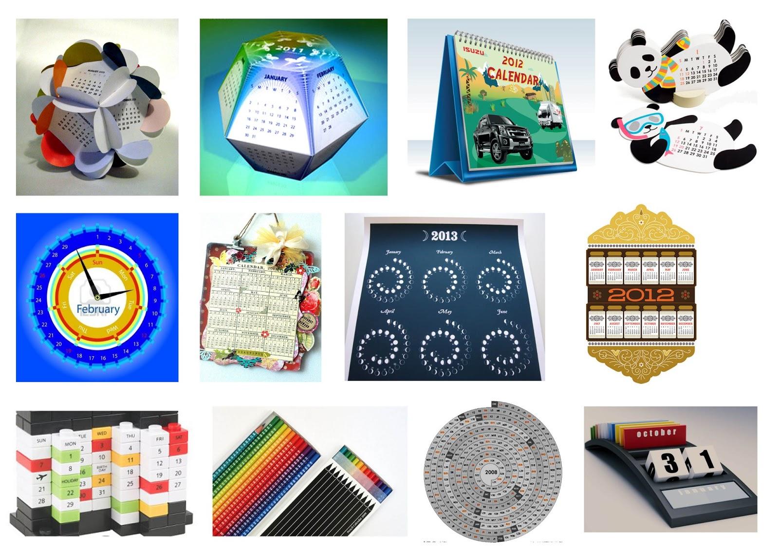 Koleksi gambar pelbagai reka bentuk kalendar.