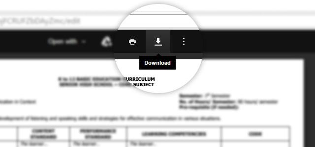Google Docs download button