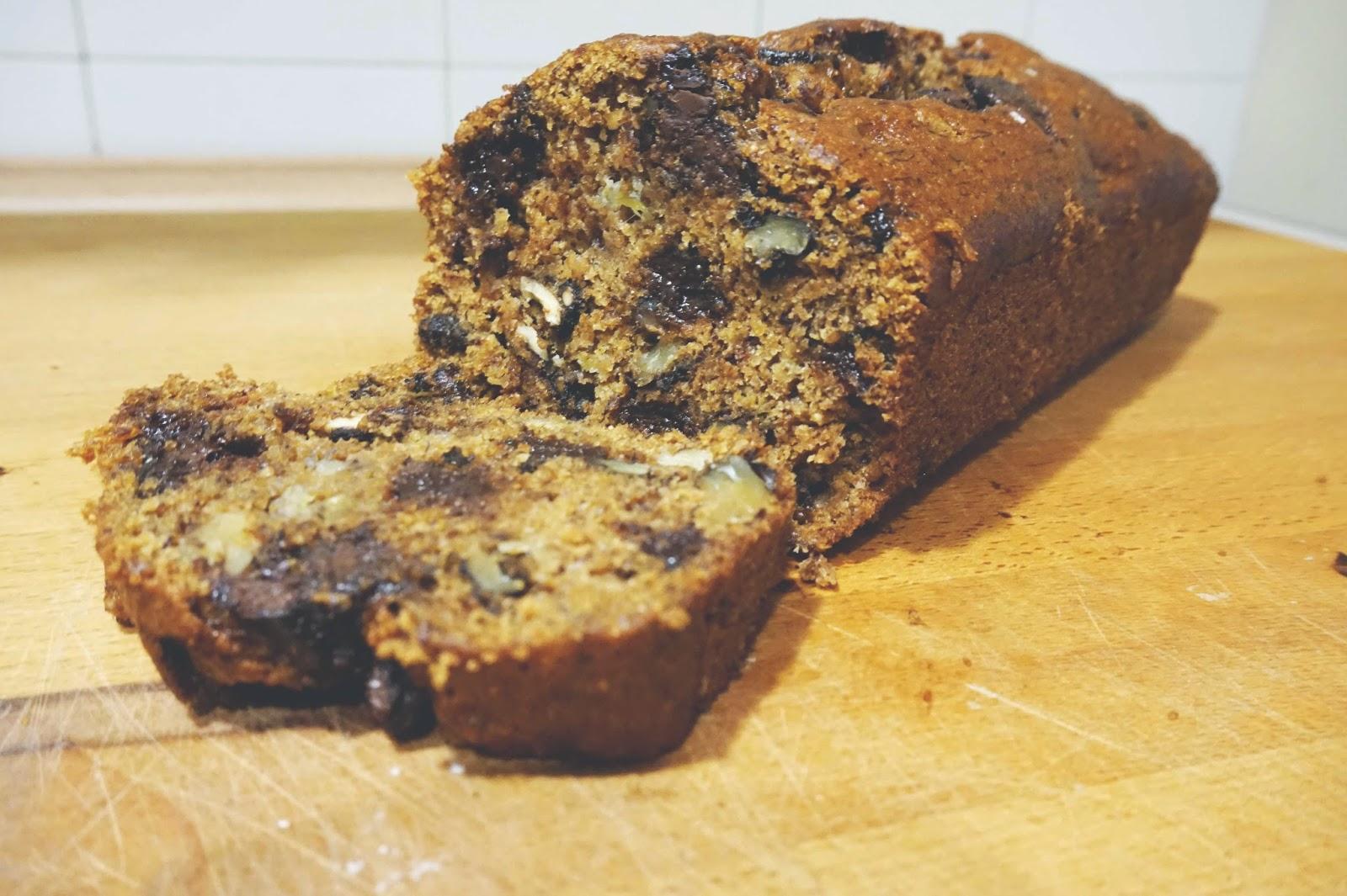 easiest tastiest vegan spelt flour chocolate chip banana bread