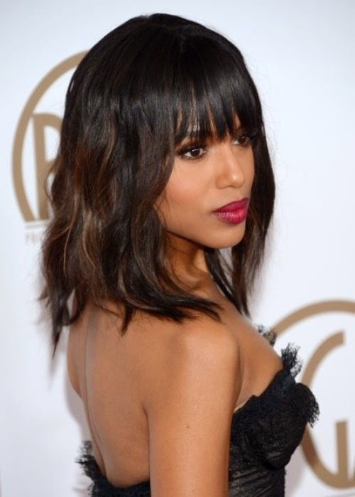 Kerry Washington Tousled With Bangs African American Hairstyle Pictures
