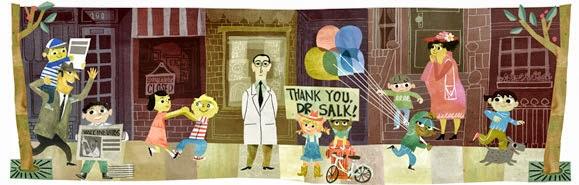 موقع البحث الشهير جوجل يحتفل بالذكرى ال 100 لميلاد يوناس سولك مخترع شلل الاطفال