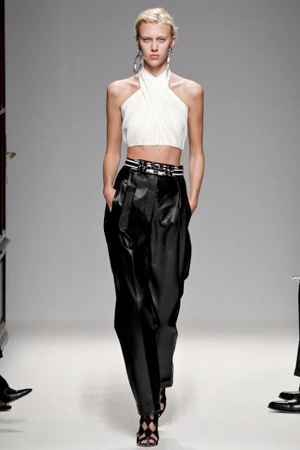 Paris Fashion Week 2012, Spring 2013 Ready to Wear White halter bouse, black leather pants, black sandals