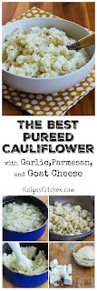 The Best Pureed Cauliflower with Garlic, Parmesan, and Goat Cheese (Plus 10 More Yummy Cauliflower Ideas!) [found on KalynsKitchen.com]