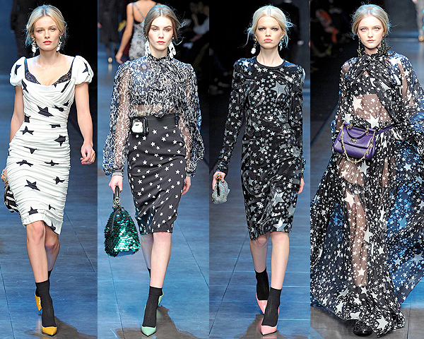 Models walk the catwalk during the Dolce & Gabbana fashion show at the