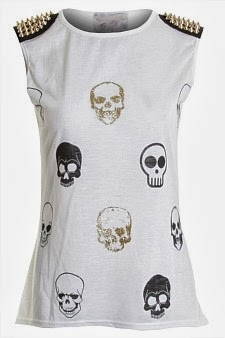 Ladies Skulls and Spikes Tank Top