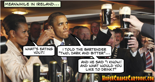 obama, obama jokes, scandals, ireland, G8, summit, Africa, conservative, stilton jarlsberg, hope n' change, hope and change, tea party