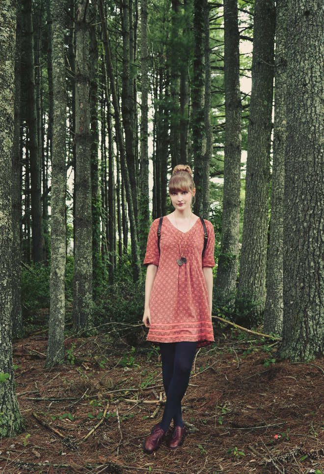 Outfit - salmon print cotton dress with navy tights