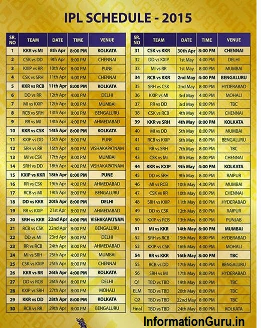 Ipl 8 schedule 2015 fixtures auction with timetable igi for Rtu time table 4 th sem 2015