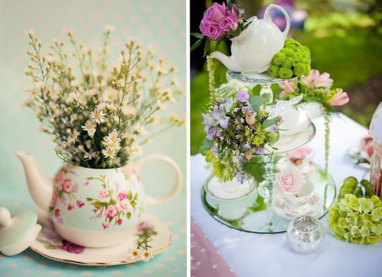 Centritavola da matrimonio alternativi, alternative wedding centerpieces, cups of tea centerpieces