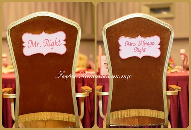 bride and groom chair, decoration, wedding, invitation, ballroom, vivatel hotel, kuala lumpur, selangor, cheras, mr. right, mrs always right, maroon chair tie back organza, satin sashes, rental basis, package, affordable, modern, special, unique, engagement ceremony, photo booth backdrop, stage, paper fan, lantern, floral flower stand, red carpet, cocktail table decoration, reception table, VIP centerpiece, wedding cake