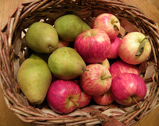 Basket of Pears and Apples