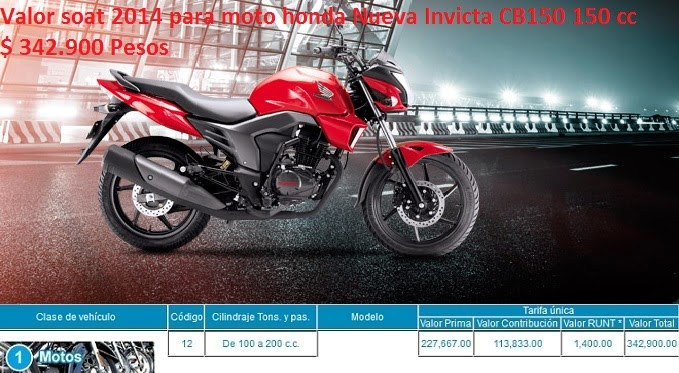 Valor Soat 2014 Para Moto Honda Nueva Invicta Cb150 150 Cc