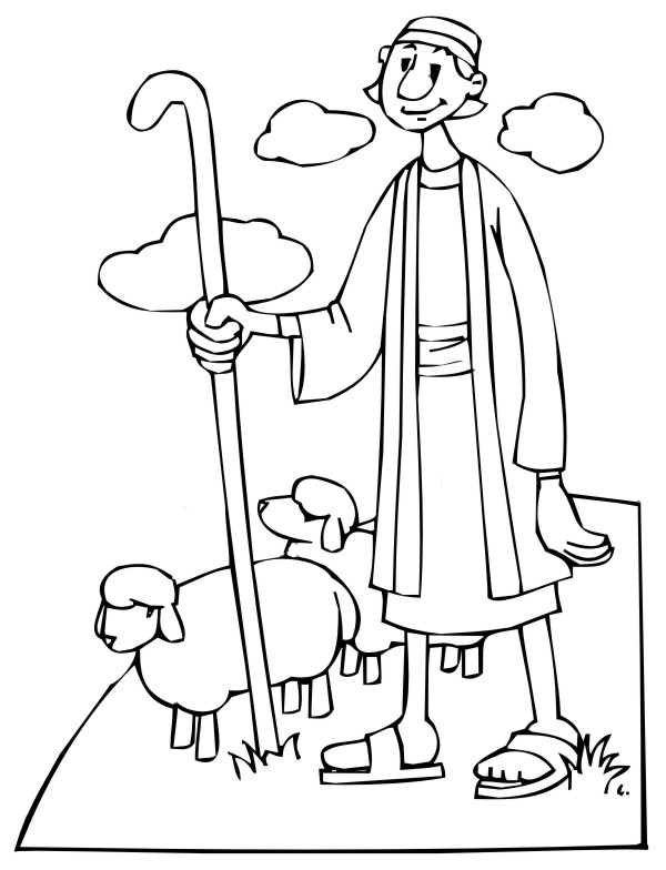Shepherd and Sheep Coloring Page high resolution