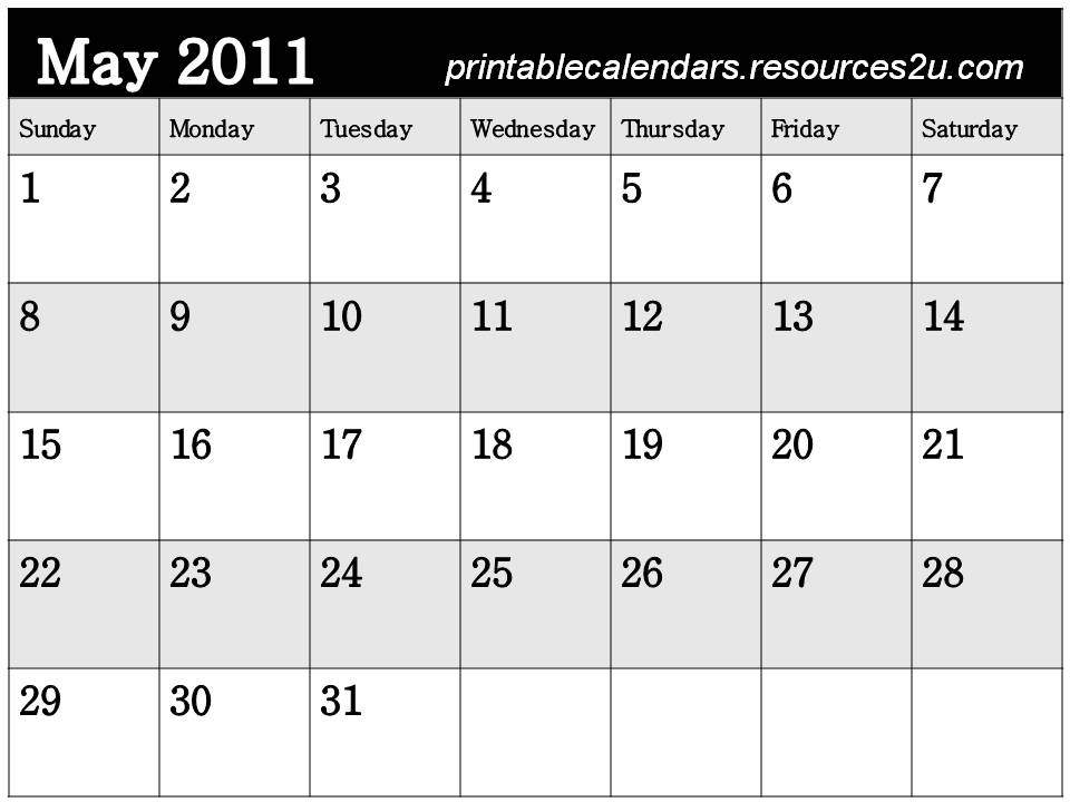 blank calendar 2011 may. Free Calendar 2011 May to