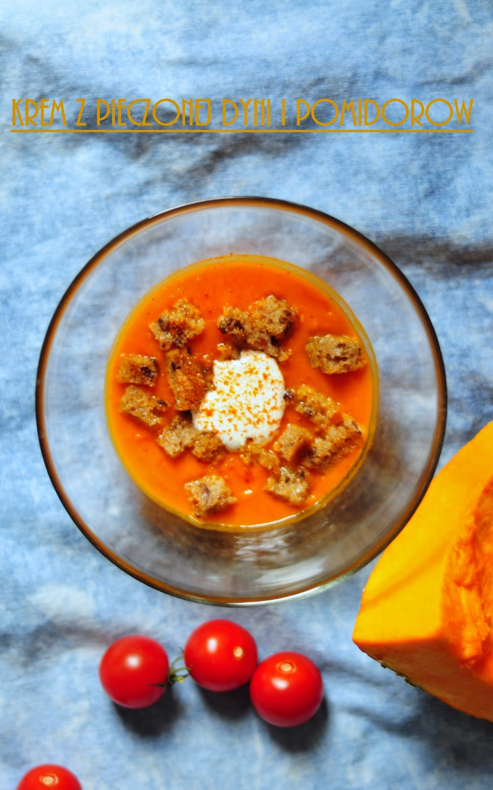 zupa z dyni i z pomidorów, krem z pieczonej dyni i pomidorów