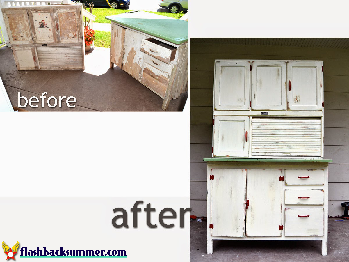 A Hoosier Cabinet Makeover - Flashback Summer