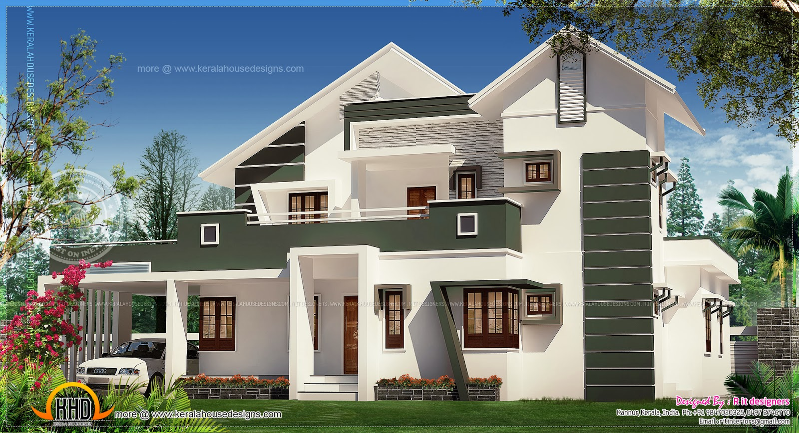 Luxury modern villa elevation home kerala plans for Contemporary villa plans
