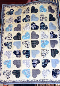 Blue and white Heart Quilt