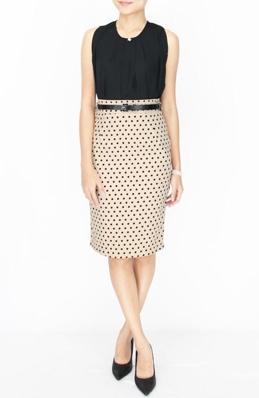 Polka Dot Pencil Knee Length Skirt