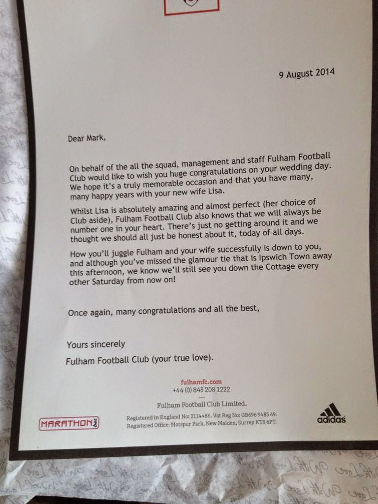 radio jackie news fulham fan gets brilliant letter from club before wedding