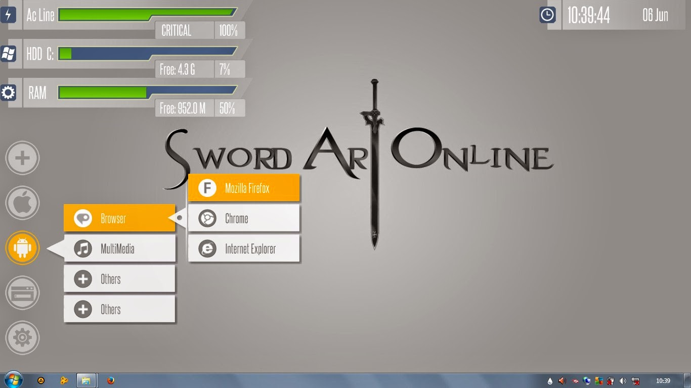 Download skin Rainmeter SAO First Project
