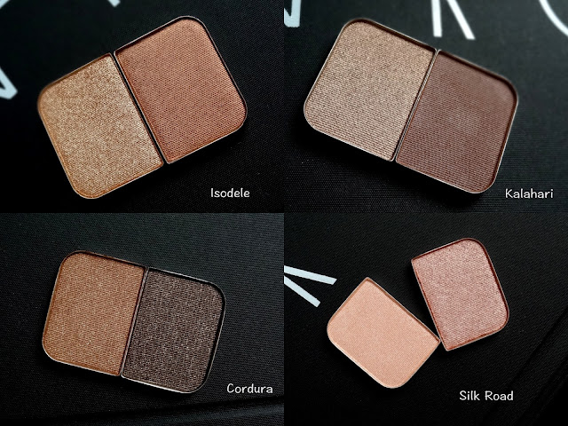 NARS Duo Eyeshadows Refills - Isodele, Kalahari, Silk Road, Cordua Swatches