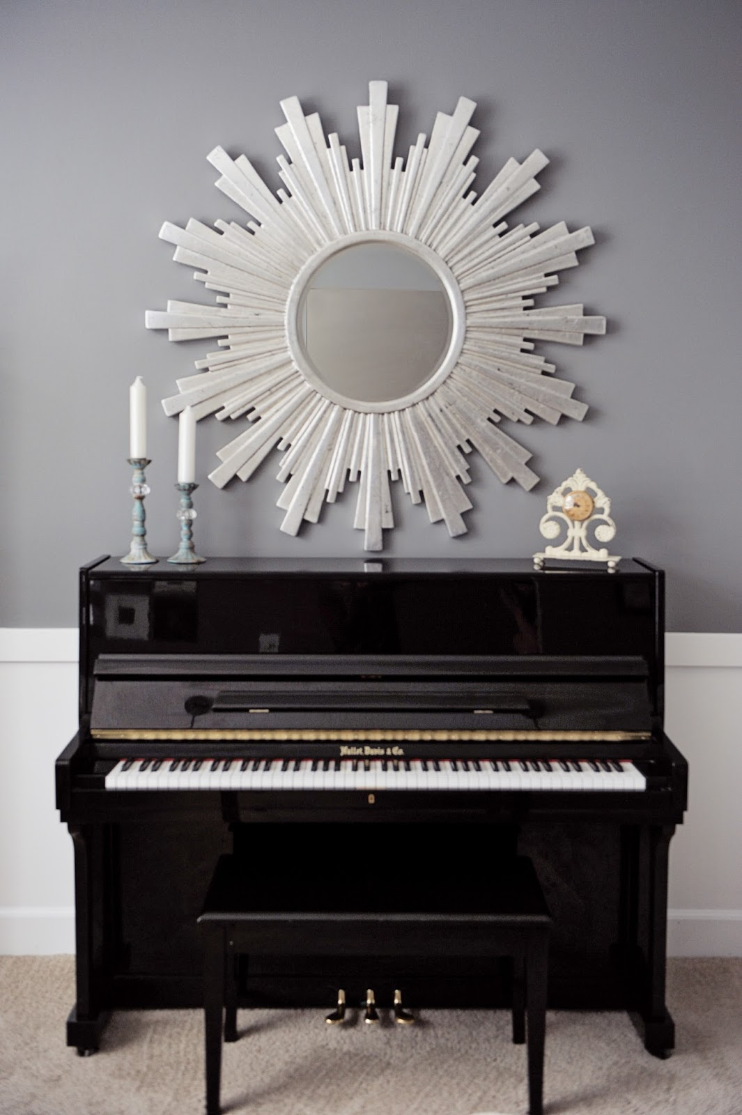 upright piano, ballard design, gardner village, down to earth, Gray, white, black, silver, gold, zgallerie, homegoods, ikea, tjmaxx, marshalls, world market, ross, ksl, overstock, tuesday morning, sherwin williams, cityscape, turquoise, floral arrangement, marble, tan, curtains, sheer curtains, contemporary, interiors, interior design, staging, salt lake city, utah, sandy, design, blog, blogger, studio 7, studio 7 interior design