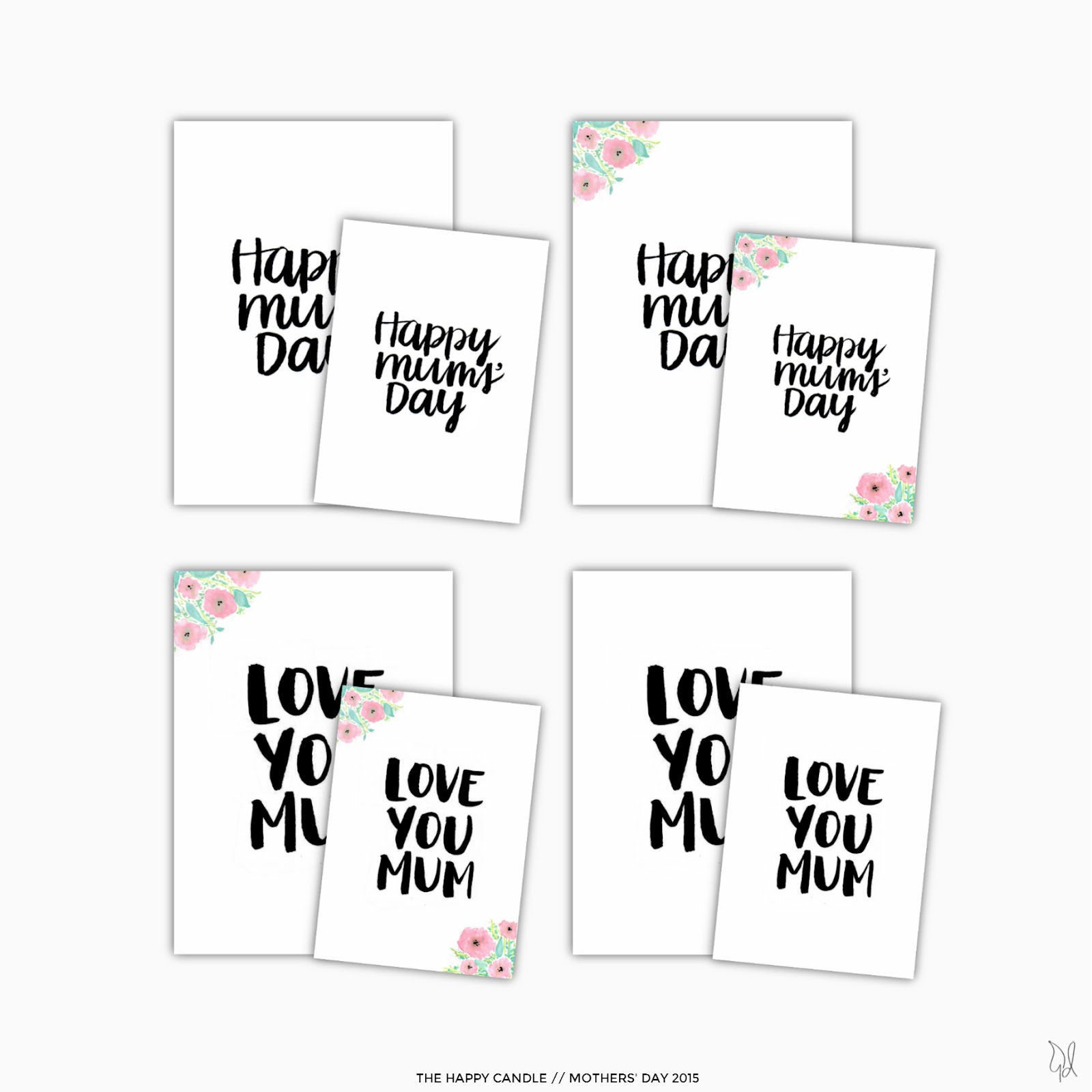 Free Download Mothers Day Brush Lettered Cards