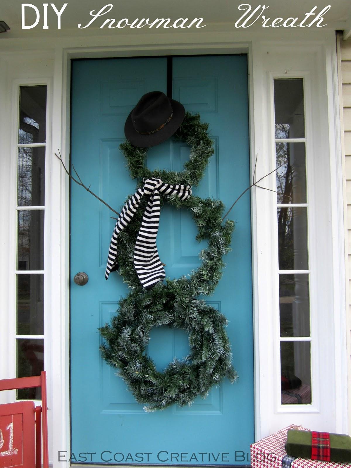 Seasonal Front Door Decor Diy Snowman Wreath East