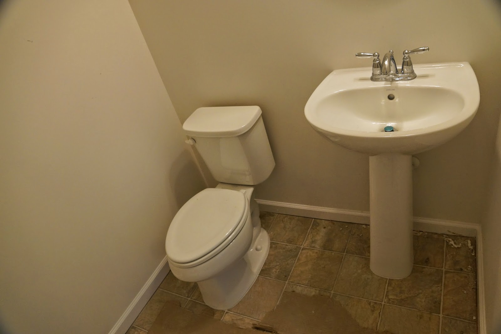 Picture of the powder room plumbing fixtures, toilet, sink and faucet.