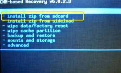 install zip from Sdcard