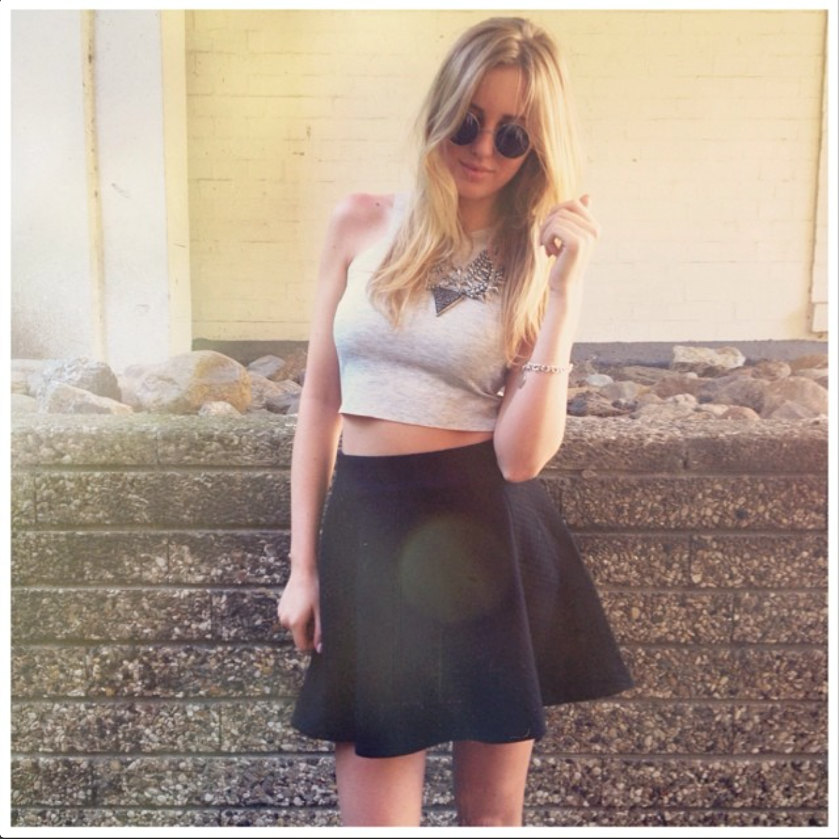 Lookbook, Cropped Top, Skirt, Blond, Style, Fashion