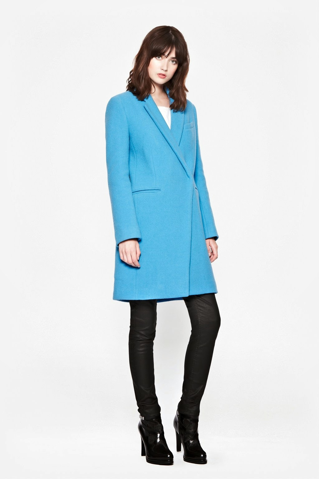 bright blue french connection coat