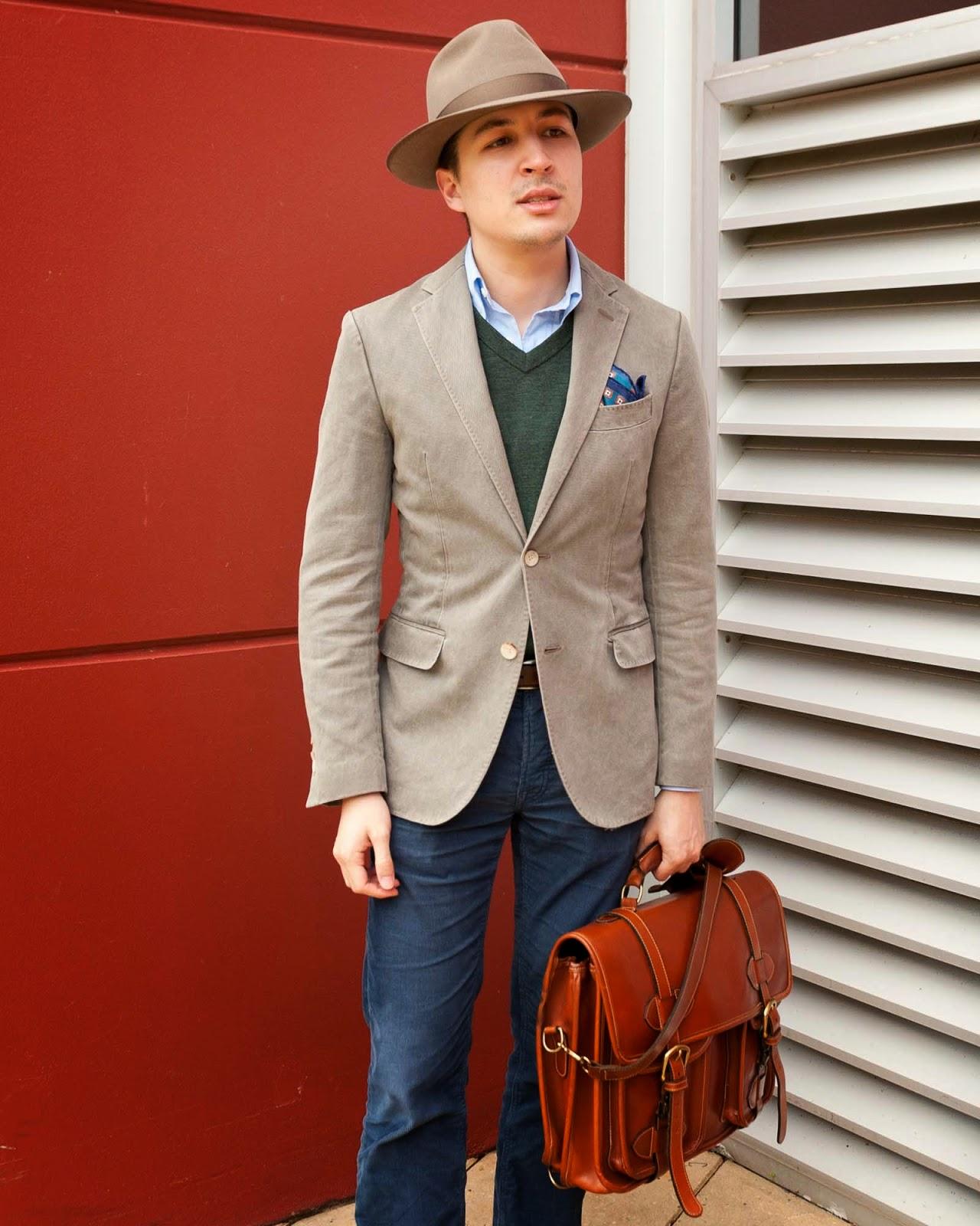 Gap Pants, Clarks Shoes, Suit Supply Blazer, Jack Jones Sweater, Brooks Brothers Shirt, Akubra Hat