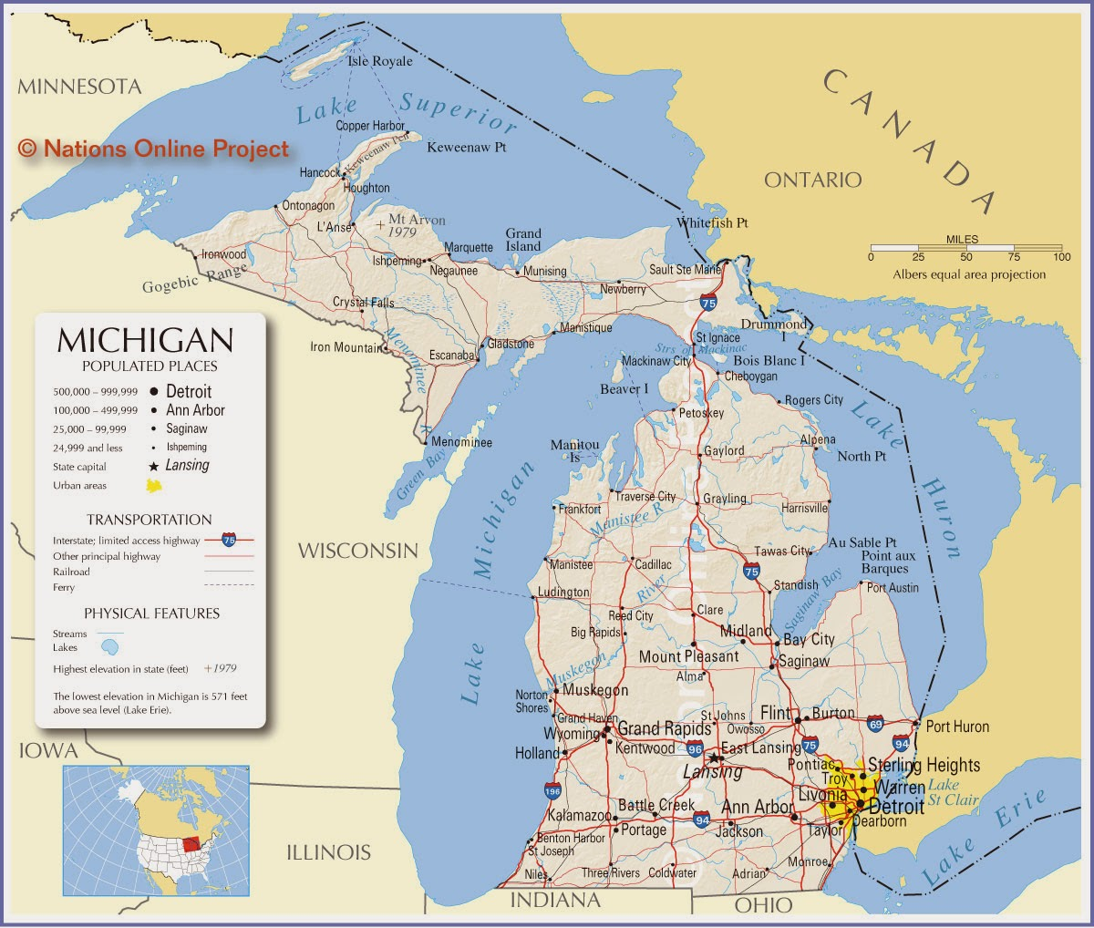 Nifty image for printable michigan maps